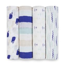 美國 aden+anais輕柔新生兒包巾(4入)-海洋系列 AA2055