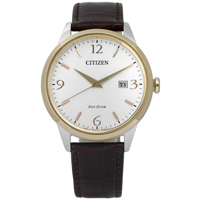 CITIZEN 絕美數字光動能日期手錶(BM7304-16A)-白x香檳金框/40mm