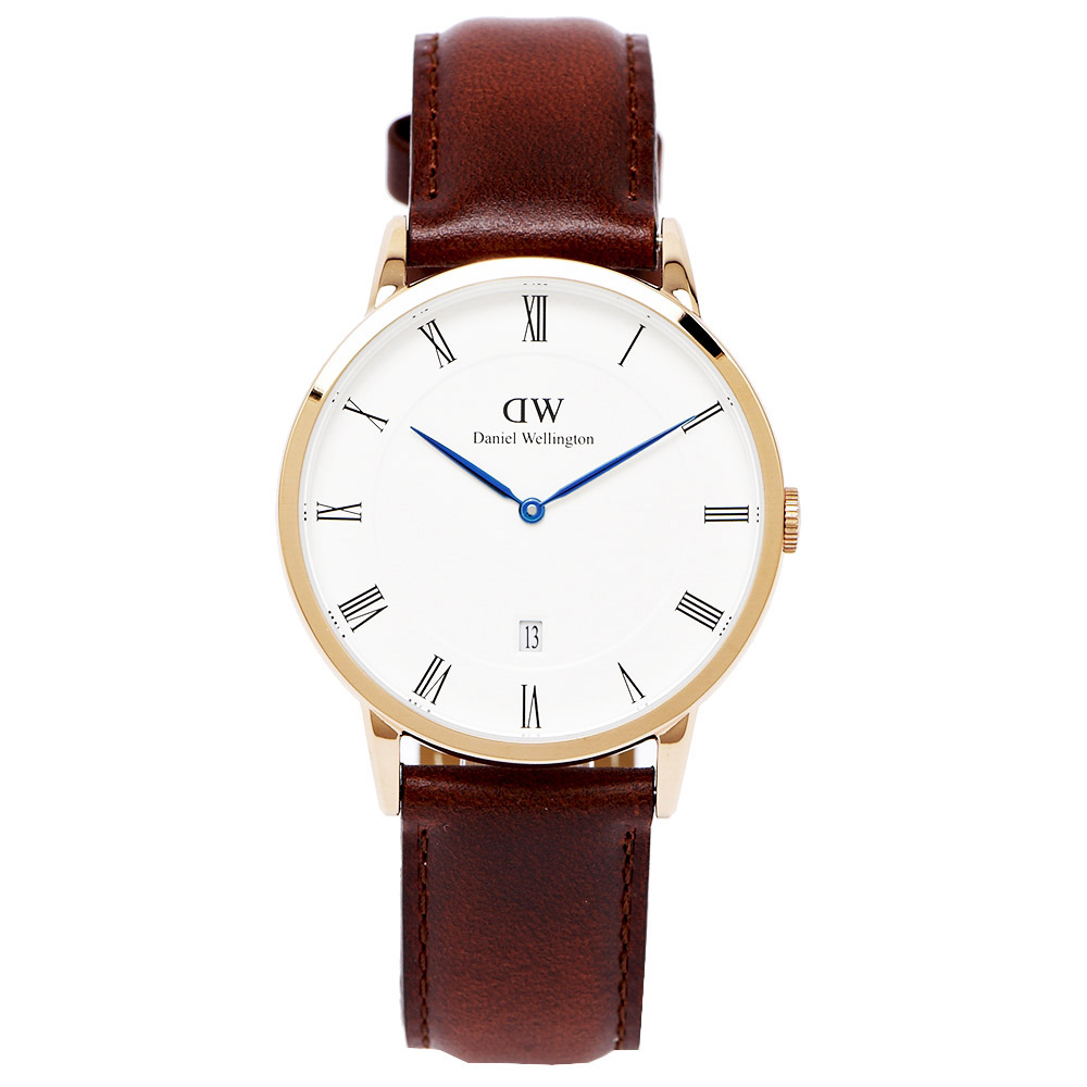 DW DAPPER MAWES玫瑰金手錶1100DW-白面x咖啡色38mm