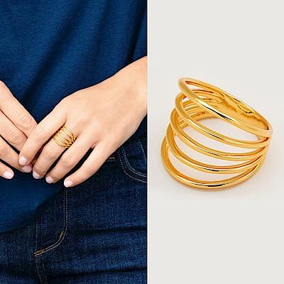 GORJANA 立體五環戒指 金色亮面 優雅簍空設計 Carine Ring
