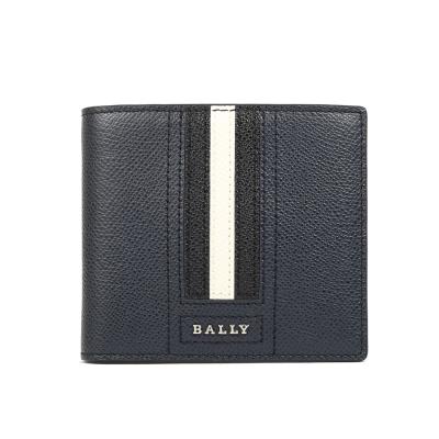 BALLY 防刮皮革撞色對折短夾(深藍/黑)