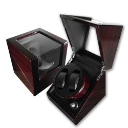 機械錶自動上鍊盒 /1旋2入錶座轉動鋼琴烤漆 - 木紋紅褐色