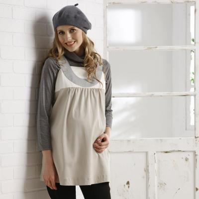 【Gennie's奇妮】都會風情簡約配色孕婦背心上衣(G3W18)