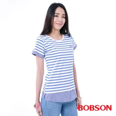 BOBSON  女款仿兩件式上衣-淺藍條紋