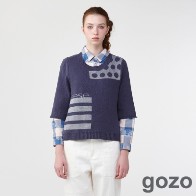 gozo波卡點幾合異想針織薄衫(二色)-動態show