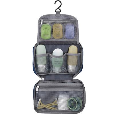 TRAVELON 防潑水三層盥洗化妝包(黑)