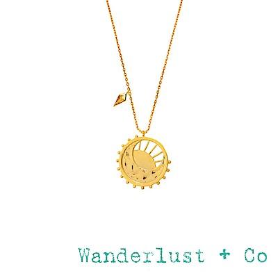 Wanderlust+Co 澳洲品牌 太陽月亮圓形項鍊 曙光乍現光芒造型 DAWNING