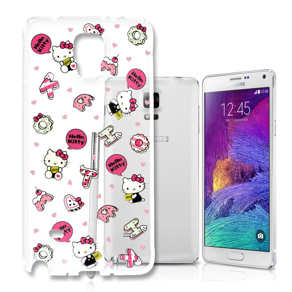 Hello Kitty 三星 Galaxy Note4 浮雕彩繪透明軟殼(繽紛點心)