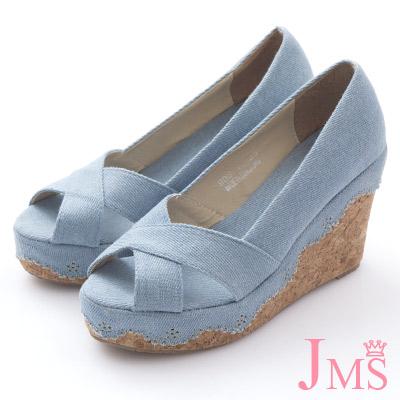 JMS-大交叉素面花邊丹寧楔型涼鞋-淺藍色