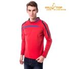 【hilltop山頂鳥】男款吸濕保暖刷毛上衣H51MH0紅/藍