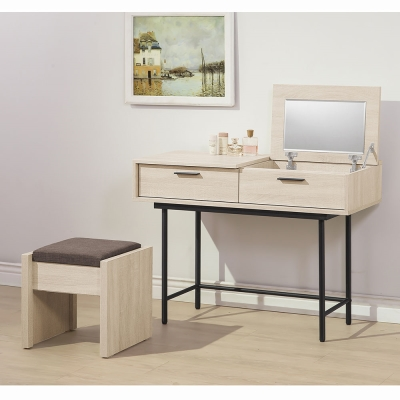 H&D 柏納德3.5尺掀式鏡台(含椅)106x40x75.5CM