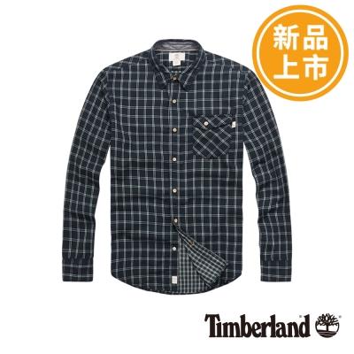 Timberland-男款綠色格紋單口袋長袖襯衫