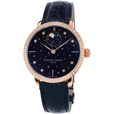 康斯登 CONSTANT 自製機芯超薄月相星腕錶-38mm/藍