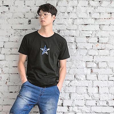 設計感星星燙印圖短袖上衣-OB大尺碼