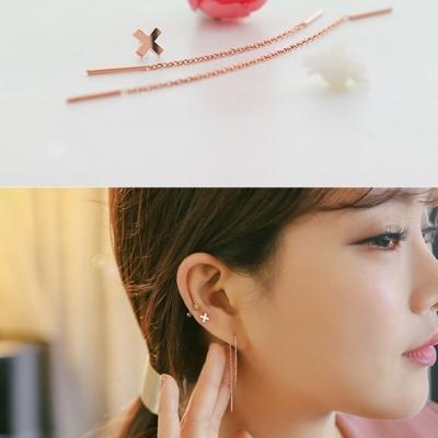 梨花HaNA 韓國太陽的後裔925銀十字架不對襯耳線三件套耳環