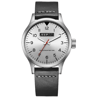 Jeep Spirit美式派對美國復古風腕錶-銀X黑色42mm