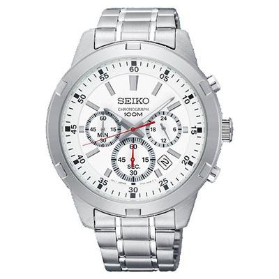 SEIKO 競速三眼計時白面腕表(SKS601P1)x43mm