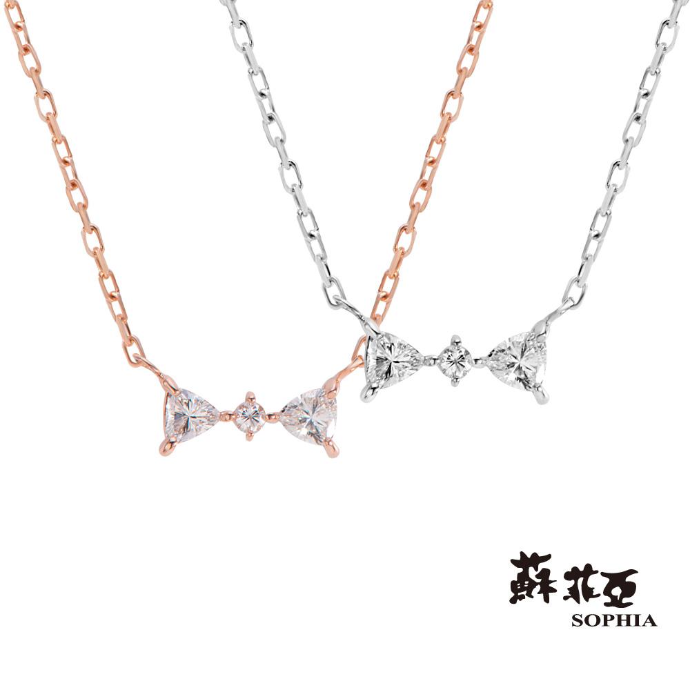 蘇菲亞SOPHIA 日本輕珠寶-Love Bow系列3鑽 鑽石項鍊(共2色)