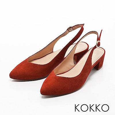 KOKKO - 輕熟香氣後拉帶尖頭粗跟鞋-深橘紅