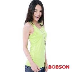 BOBSON  女款手縫亮片背心 -螢光綠