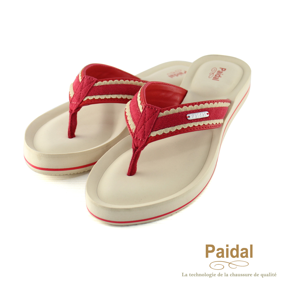Paidal 甜美布蕾絲耳帶厚底夾腳涼鞋拖鞋-紅