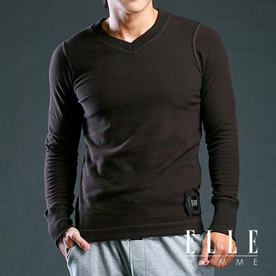 ELLE HOMME厚綿純色V領長袖T恤-黑E83208