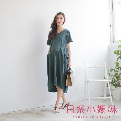 日系小媽咪孕婦裝-韓製孕婦裝-雙口袋抓皺造型素面洋