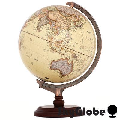 SkyGlobe 12吋古典仿古木質地球儀(中英文對照)(附燈)