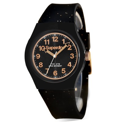 Superdry 極度乾燥 亮麗街頭 矽膠 運動腕錶-黑帶/黑面/ 37 mm