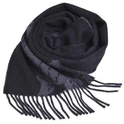 RALPH LAUREN POLO 義大利製大馬圖騰LOGO雙面配色素面羊毛圍巾(黑/灰)