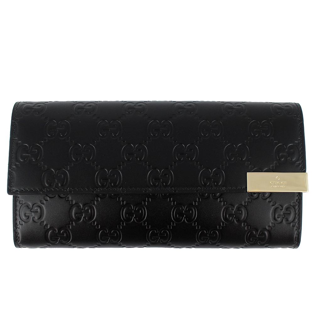 GUCCI Guccissima 黑色厚質真皮壓紋金屬牌押扣多隔層長夾