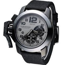 GRAHAM Chronofighter Oversize 左冠計時機械腕錶-灰/46mm