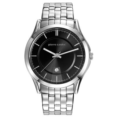 pierre cardin皮爾卡登   極度時尚日期腕錶-銀框黑-鋼帶款/44mm