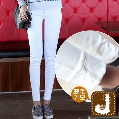 正韓  低腰純白磨毛彈性窄管褲-(白色)100%Korea Jeans