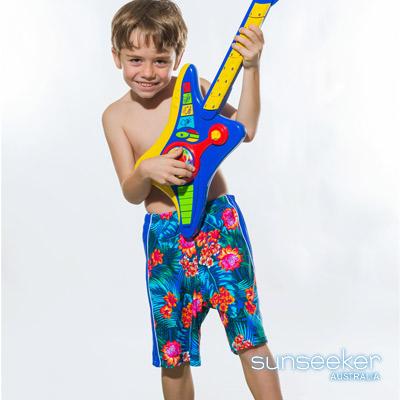 澳洲Sunseeker泳裝大男童抗UV七分海灘褲泳褲-熱帶風情