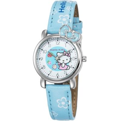HELLO KITTY 凱蒂貓俏皮寶貝蝴蝶結手錶-粉藍/27mm