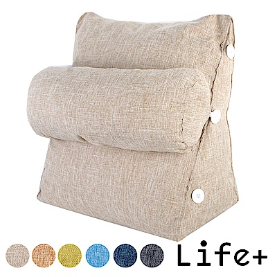 Life Plus 純色品味 舒壓萬用棉麻靠枕/抱枕/腰靠枕 (卡其)