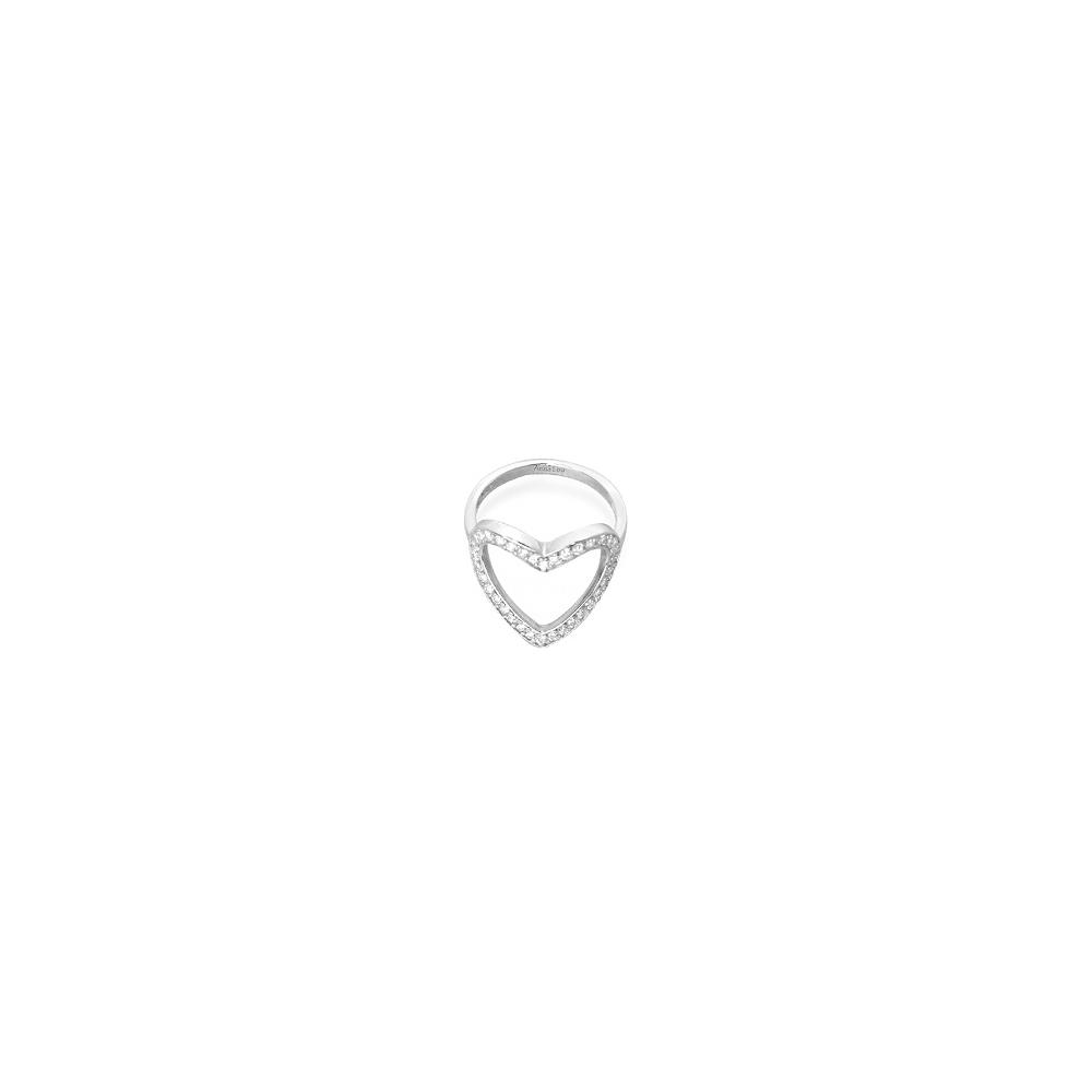 Anna Lou OF LONDON 倫敦品牌 heart ring白鑽細緻愛心銀戒指