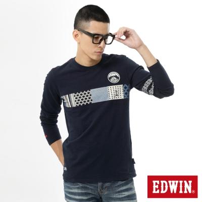 EDWIN-江戶勝-花圖長袖T恤-男-丈青
