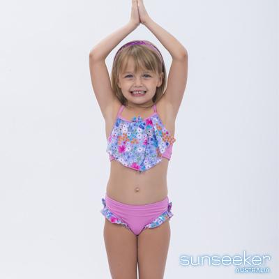 澳洲Sunseeker泳裝抗UV防曬兩件式比基尼泳衣-小女童粉色小花