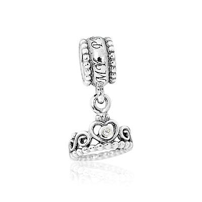 Pandora 潘朵拉 公主皇冠鑲鋯 垂墜純銀墜飾 串珠