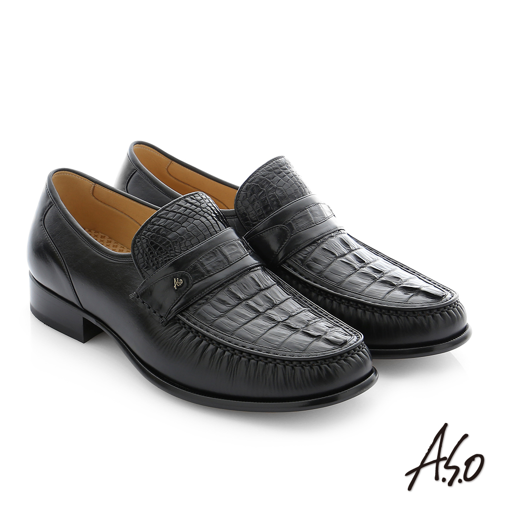A.S.O 極致工藝 鱷魚牛皮手縫紳士鞋 黑色