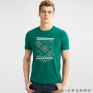 GIORDANO 男裝趣味圖案字母印花純棉修身短袖T恤-11 常綠樹綠