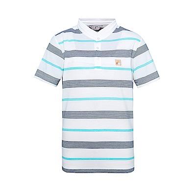 FILA 男條紋半門襟T恤-白 1TES-1705-WT