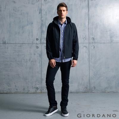 GIORDANO 男裝防風保暖搖絨連帽修身夾克外套 -  09 標誌黑色