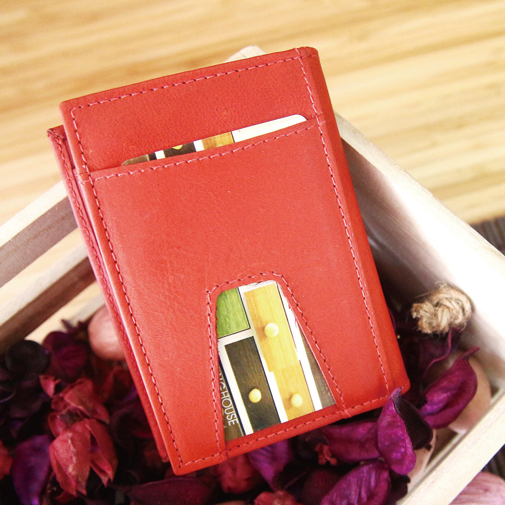 CALTAN - 男女用中性鈔票卡片兩用短夾卡片夾名片夾皮夾-1809ht-red