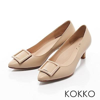 KOKKO- 都會尖頭方扣真皮舒壓高跟鞋 -奶茶裸