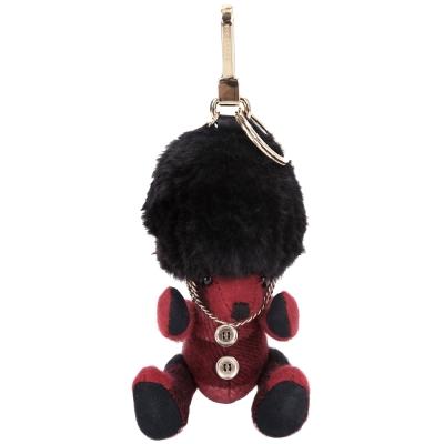 BURBERRY Thomas 格紋喀什米爾英倫皇家衛兵泰迪熊吊飾(鮮紅色)