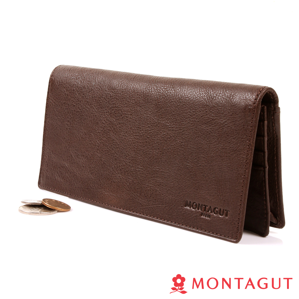 MONTAGUT夢特嬌-自然派皮紋植鞣牛皮真皮 長夾-15卡1照5夾1零