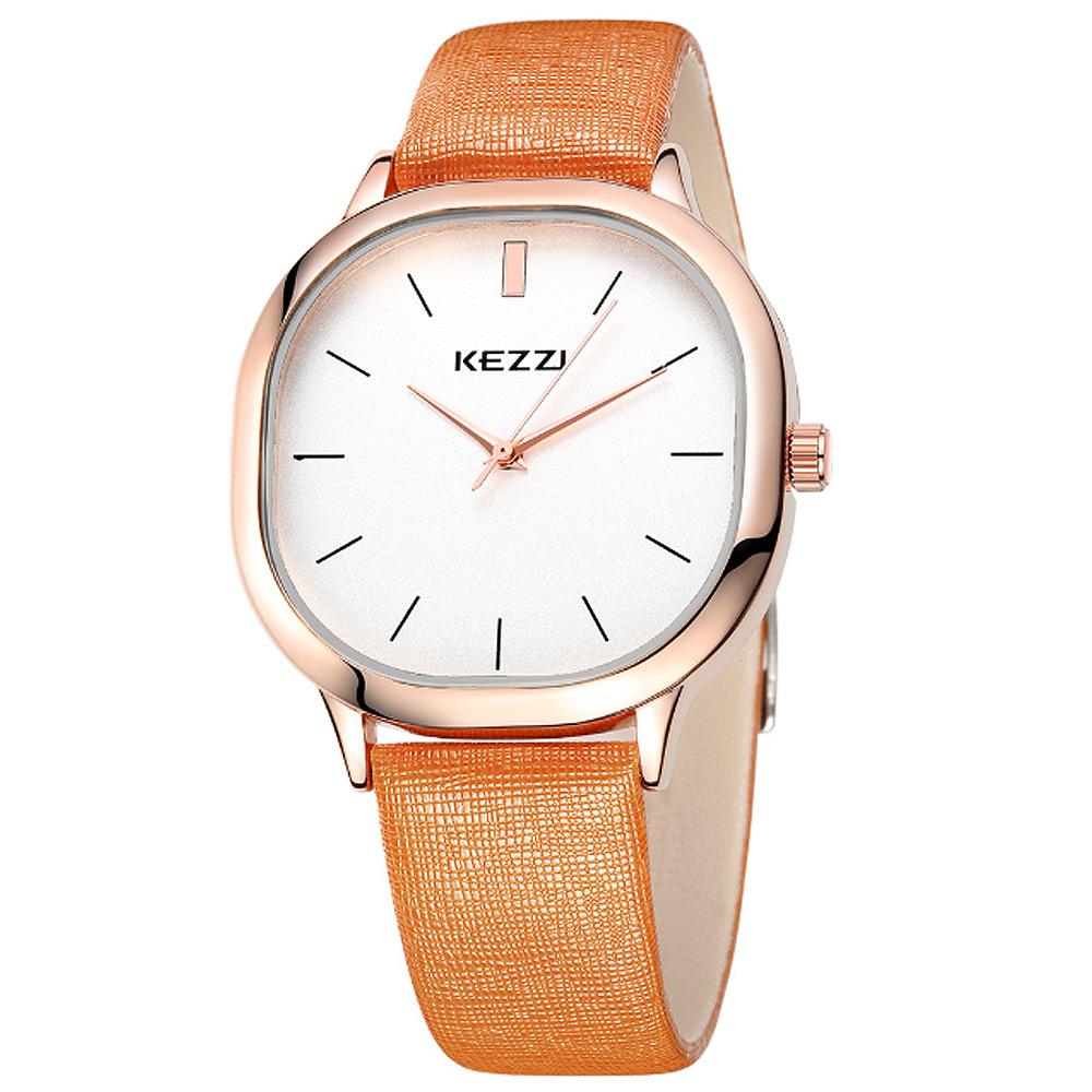 Kezzi-1125日式極簡方形情侶手錶-棕色x男38x38mm